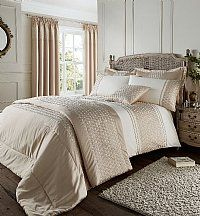 Gold 'Lillie' SuperKing Duvet Cover Set    A very luxurious and elegant looking duvet cover set in a beautiful Gold and Ivory.  Lovely embroidered detailing in calming relaxing tones.   Material consists of 50% Cotton 50% Polyester with 100% Polyester Matt Satin Trim £47.99