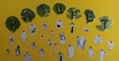 lletres de patufet a sobre d'una fulla de col. plastificades amb aironfix. escola miquel martí i pol sabadell. patufets fets amb negre   i barretina vermella enganxada. Painting, Art, Art Background, Painting Art, Kunst, Paintings, Performing Arts, Painted Canvas, Drawings
