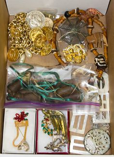 Lot 562: Sterling Silver and Costume Jewelry Assortment; Including a signed piece by Linda Dano, rings, pins, pendants and necklaces