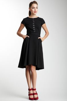 Mackage | Cap sleeve dress with front hook-and-eye closures on ribbon trim