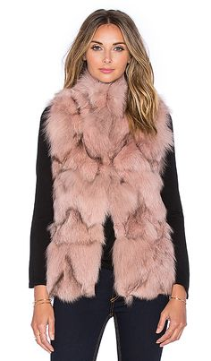 jocelyn Stand Collar Fox Fur Vest in Powder   REVOLVE