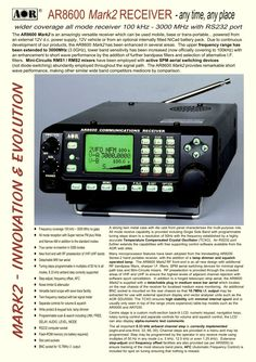 AR8600 MKII Communications Receiver 100 kHz - 3.0 GHz - INFO - AOR Products. For more information visit: http://www.teletechservices.com/