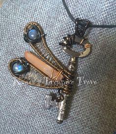 Dragonfly Labradorite Antique Key Pendant by KannasTreasureTrove on Etsy