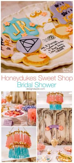 Diy Crafts : Illustration Description Harry Potter themed bridal shower complete with Honeydukes Sweet Shop, this party would also work perfect for a Birthday Party or Baby shower! Harry Potter Party Decorations, Bachelorette Decorations, Diy Birthday Decorations, Birthday Crafts, Harry Potter Sweets, Harry Potter Theme, Harry Potter Diy, Holiday Party Themes, Ideas Party