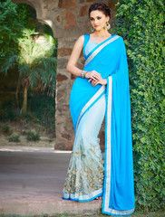 Sky Blue Color Half Net & Half Georgette Festival & Party Sarees : Vandina Collection  YF-31325
