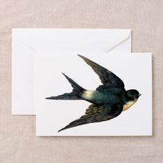 Vintage Swallow Bird Art Greeting Card