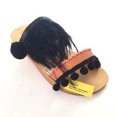 "Leather Sandals ""Lemonia"" (Handmade to order) wedding / summer night / gift sandal / feathers / boho / unique / bridsmaid sandals / luxury by BlissDesigners on Etsy"