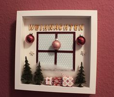 Wanddekoration mit RIBBA Frame von im Bastelfieber You are in the right place about Frame Crafts diy Christmas Box Frames, Christmas Shadow Boxes, Christmas Love, Handmade Christmas, Christmas Holidays, Christmas Decorations, Xmas, Beaux Desserts, Ideas