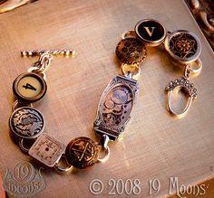 DEJA VU Antique Button Watch Typewriter Key Steampunk Bracelet by 19 Moons Key Jewelry, Jewelry Crafts, Jewelry Art, Jewelery, Vintage Jewelry, Jewelry Design, Jewelry Making, Unique Jewelry, Jewelry Ideas