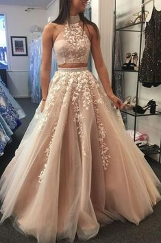 Elegant Halter Two Piece Prom Dresses with | Fashiondressy Two Piece Evening Dresses, 2 Piece Prom Dress, Lace Evening Dresses, A Line Prom Dresses, Cheap Prom Dresses, Homecoming Dresses, Formal Dresses, Garden Prom Dresses, Indian Prom Dresses