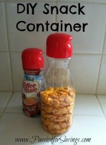 Turn your used Coffee Creamer conatiner into a DIY Snack Container! Perfect for taking snacks in the car.