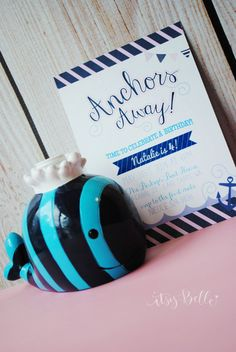 Nautical Girls Birthday Anchor's Away A Baby Girl Is on the Way! Baby Shower Invitation, Pretty Nautical Girl Collection  by ItsyBelle, $15.00