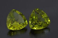 Captivating Pair of Peridot. Trillion Cut. 6.50 ct pair. http://mdmayagems.com/collections/peridot/products/peridot