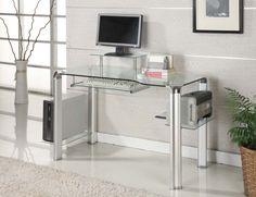 Innovex Round Storage Clear Glass Computer Desk