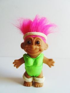 Now where did i put my troll dolls?Vintage Russ Neon Green Swimsuit / Pink Hair Troll Doll by Plush26