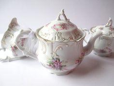 Vintage Teapot Cream Sugar Violet Floral Set of by jenscloset
