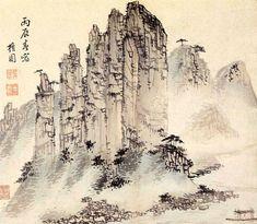 (Korea) Oksun peaks, album of 1796 by Kim Hong-do ink and light color on paper. Korean Painting, Japanese Painting, Chinese Painting, Japanese Art, Watercolor Artists, Ink Painting, Chinese Landscape, China Art, Korean Art