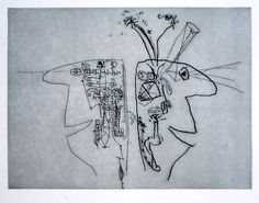 Left Brain Right Brain by Bruce Petty- etching