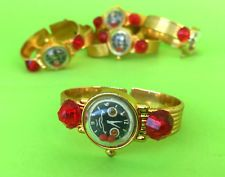 1x Vintage Greek Plastic APERGIS Gold Color Bracelet Watch Jem Toy Puzzle Rare