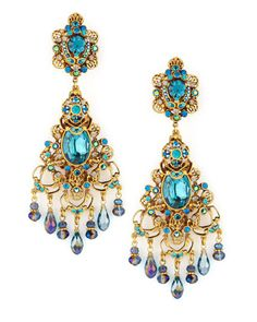 Dramatic large swarovski teal chandelier clip earrings jewelry filigreechandelierclipearringsgoldtealbyjose mozeypictures Images