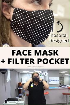 This is a free printable face mask pattern. It's an olson style with a filter pocket and hair ties. Easy Face Masks, Homemade Face Masks, Diy Face Mask, Sewing Patterns Free, Sewing Tutorials, Free Pattern, Pocket Pattern, Free Sewing, Printable Masks