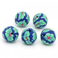 Buy wholesale clay spacer beads ball multicolor flower pattern 12mm dia,hole:approx 1.6mm,50pcs at low price , clay beads on sale for wholesale prices at 8seasons.com
