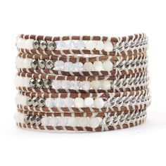 White Mix Chain Wrap Bracelet on Natural Brown Leather