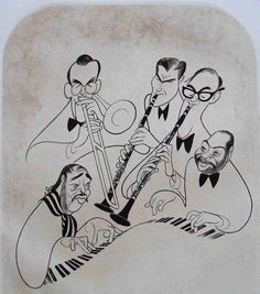 NY Times Al Hirschfeld's Caricature of Big Bands Featuring: Glenn Miller, Artie Shaw, Benny Goodman, Count Basie and Duke Ellington ]