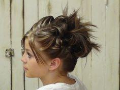 Kids hairstyle tutorial for shorter hair.  updo.
