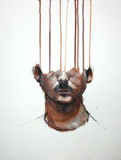 Autoportrait Lou Ros  8: 35x45cm Acrylique sur papier  2010