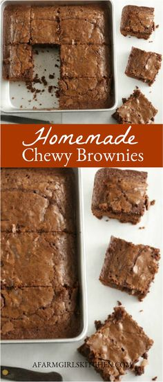 These Chewy Brownies are just as chewy as boxed brownies and easy to make in one bowl. Chewy Fudge Brownies will be your new favorite brownie recipe. (Make in ONE bowl with SIMPLE ingredients! Fudge Brownies, Best Chewy Brownies Recipe, Cake Mix Fudge, Beste Brownies, Boxed Brownies, Chocolate Brownies, Cake Like Brownies, Tolle Desserts, Köstliche Desserts