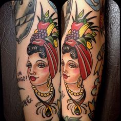 "tattoo old school / traditional nautic ink - doll face / tropical pinup / ""Carmen Miranda"""