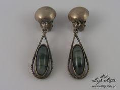 cc2c6aab61af58 Klipsy ORNO/ clips ORNO/ polish vintage jewellery/ polish jewellery with  moss agate/ vintage silver clips/ polish PRL jewellery