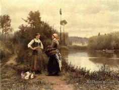 Daniel Ridgway Knight,A Conversation oil painting reproductions for sale