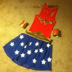DIY Wonder Woman Costume! #Halloween #wonderwoman #easy