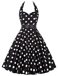 Womens Pleated Halter Vintage Polka Dot Casual Dresses for Work XXXLarge Black with white dots * You can find more details by visiting the image link.