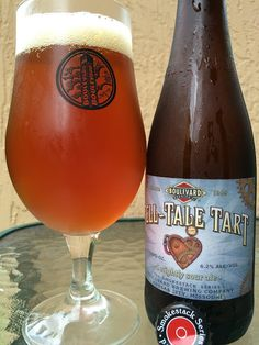 """Boulevard Brewing's Tell-Tale Tart • Fruity, candied-lemon tart aroma. Tart cherry and lemon and unripened grape flavors come at the beginning, lightly acidic. Noticeably tart but definitely subtle by """"sour"""" standards, very approachable. In the background, a sweeter backbone adds some balance, maybe prunes or some richer fruit. The back-and-forth, tart then sweet profile is pretty nice. Tell-Tale Tart cleanses the palate, delivers lots of interest. A """"Tale of Madness!"""""""