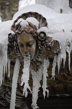Frozen Delille fountain, Clermont-Ferrand, France.