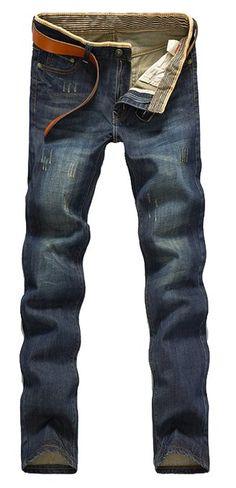 Maxhoc Men's Stylish Slim Fit Straight Leg Jeans Trousers (28)