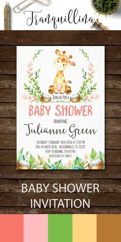 Giraffe Baby Shower Invitation Printable Jungle by tranquillina