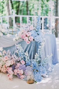 Pretty Wedding Spring Garden Decoration Using Flower Wedding is thought to be made in heavens. A wedding is just one of the most anticipated and exclusive moments for each one. An outdoor wedding, nevert… Baby Blue Weddings, Blue And Blush Wedding, Pink Wedding Colors, Winter Wedding Colors, Blush Pink Weddings, Floral Wedding, Winter Weddings, Burgundy Wedding, Baby Blue Wedding Theme
