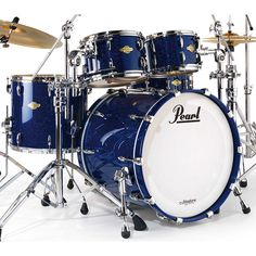Pearl Masters Premium Legend (MPL) Drum Set in blue..gorgeous!! Someday I will have a beautiful blue Pearl Export or MPL set! <333