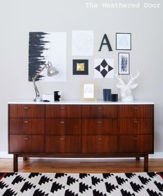 The Weathered Door: Before & After: Mid Century Modern Credenza with a Glossy White