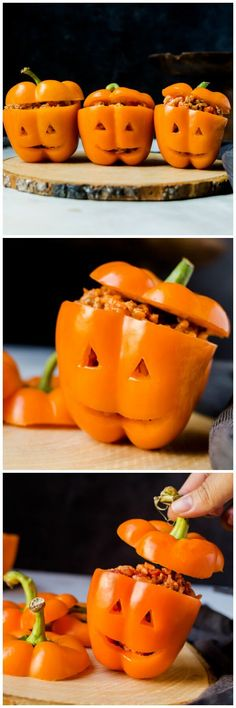 Jack-o-Lantern Halloween Stuffed Peppers - Filled with Italian flavors and a roasted red pepper sauce, this recipe makes a delicious and fun family dinner for Halloween.