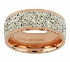 Steel By Design Silk Fit Rose Gold Crystal Band Ring