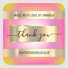 Thank You Shopping Custom Holograph Pink Gold Square Sticker Burgundy And Gold, Burgundy Wedding, Pink And Gold, Anniversary Party Favors, Wedding Anniversary, Glitter Wedding, Bridal Shower Favors, Love Is Sweet, Round Stickers