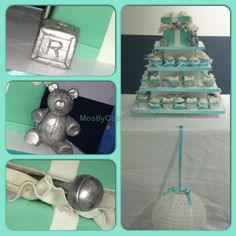 Tiffany baby shower cake and cupcakes.