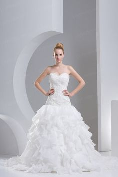 Ball Gown Sweetheart Satin Organza Chapel Train Wedding Dress