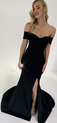 shoulder black mermaid long prom dress with side slit, 2018 prom dress formal evening dress party dress