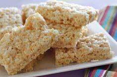 Skinny Rice Krispies Treats Gina's Weight Watcher Recipes Servings: 16 • Serving Size: 1 piece • Points: 2 pts • Points+: 2 pts Calories: 84.4 • Fat: 0.7 g • Protein: 0.8 g • Carb: 18.9 g • Fiber: 0.0 g 2 tbsp light butter spread (I used Smart Balance Light) 4 cups or 10 oz mini marshmallows 6 cups Rice Krispies cooking spray